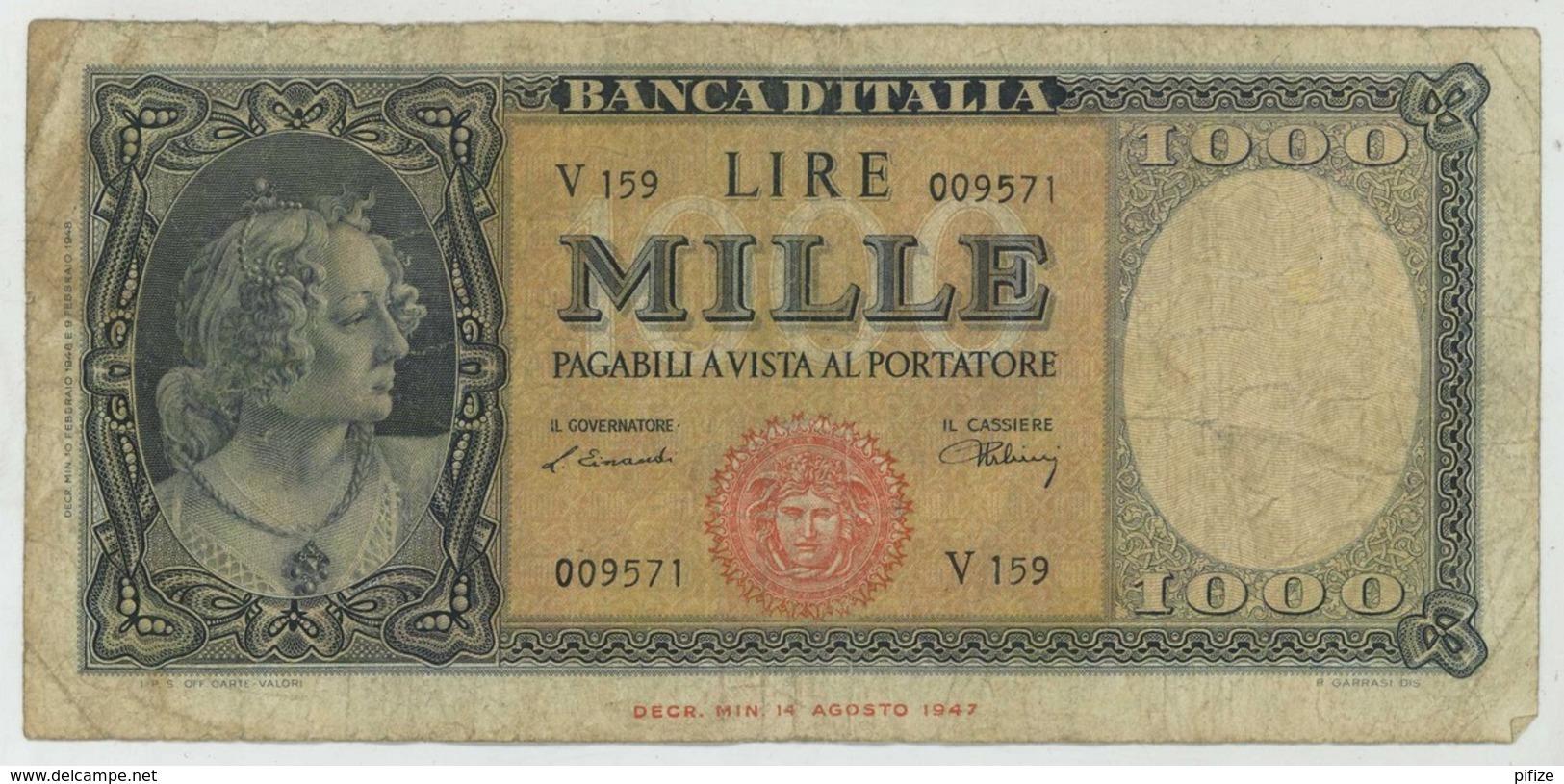 Italia . 1000 Lire 1947 . - [ 2] 1946-… : République