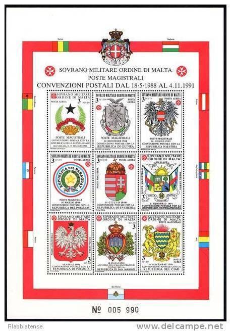 1992 - Sovrano Militare Ordine Di Malta BF 37 Stemmi - Francobolli
