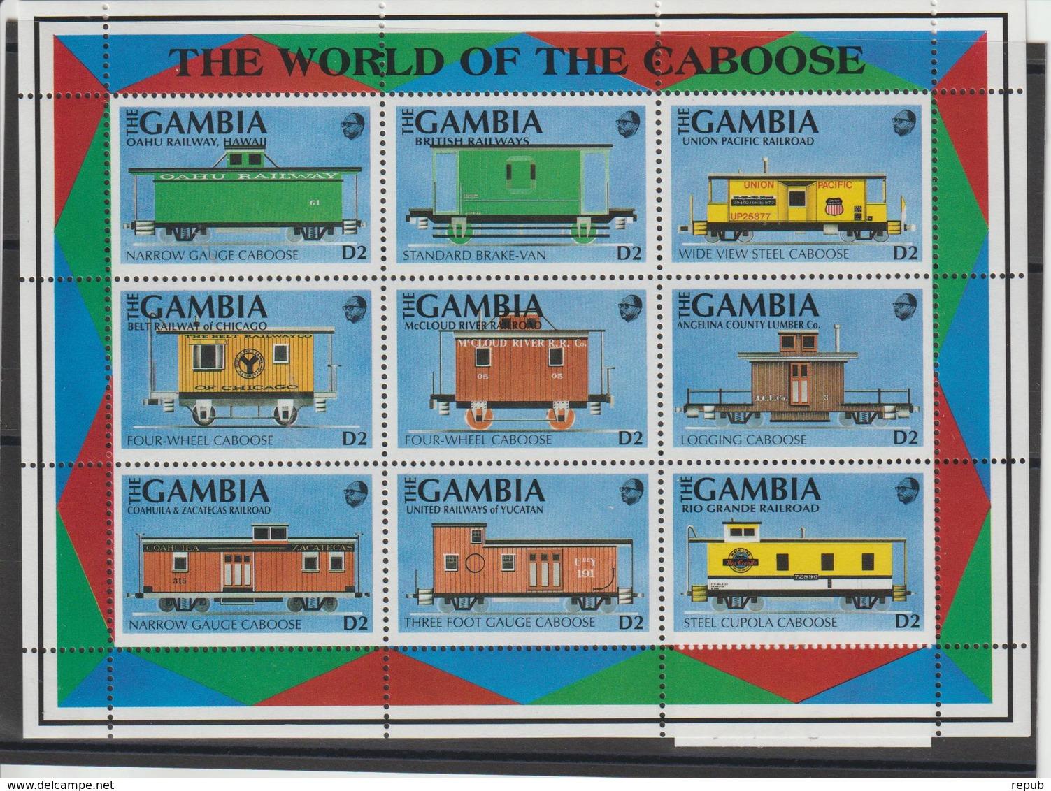 Gambie 1991 Trains Série 1043A-43J 9 Val ** MNH - Gambie (1965-...)