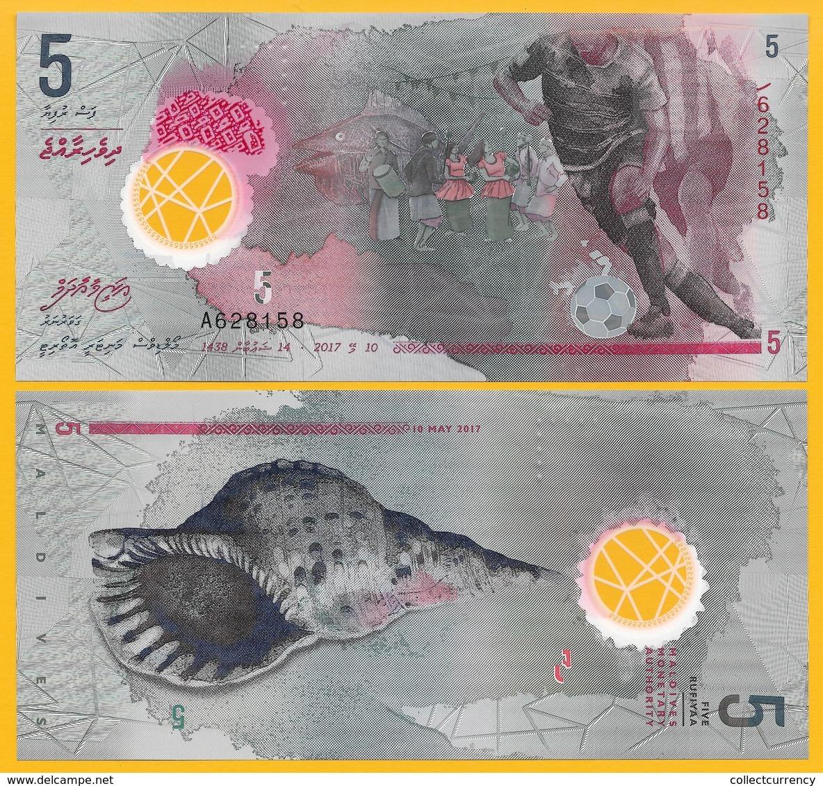 Maldives 5 RufiyaaP-new 2017 UNC Polymer Banknote - Maldives