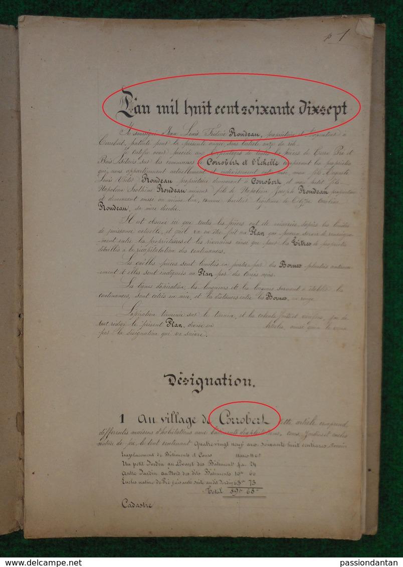 Cahier D'arpentage Daté De 1877 - Département De La Marne - Commune De Corrobert Et Montmirail - L'Échelle Le Franc - Technical Plans