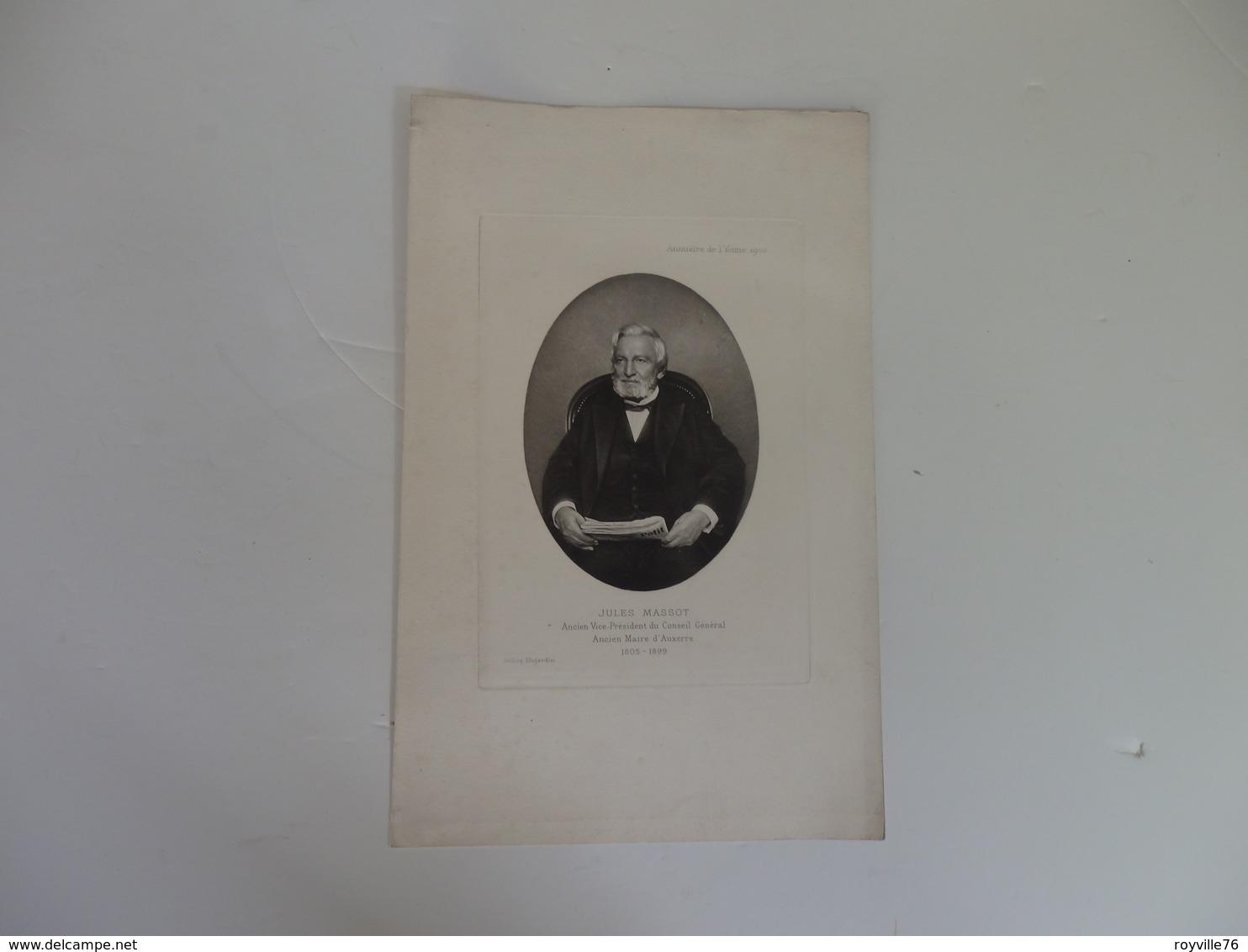 Photo 24,5cm/16cm Sur Jules Massot Ancien Maire D'Auxerre (89) Signée Héliog Dujardin. - Personalità