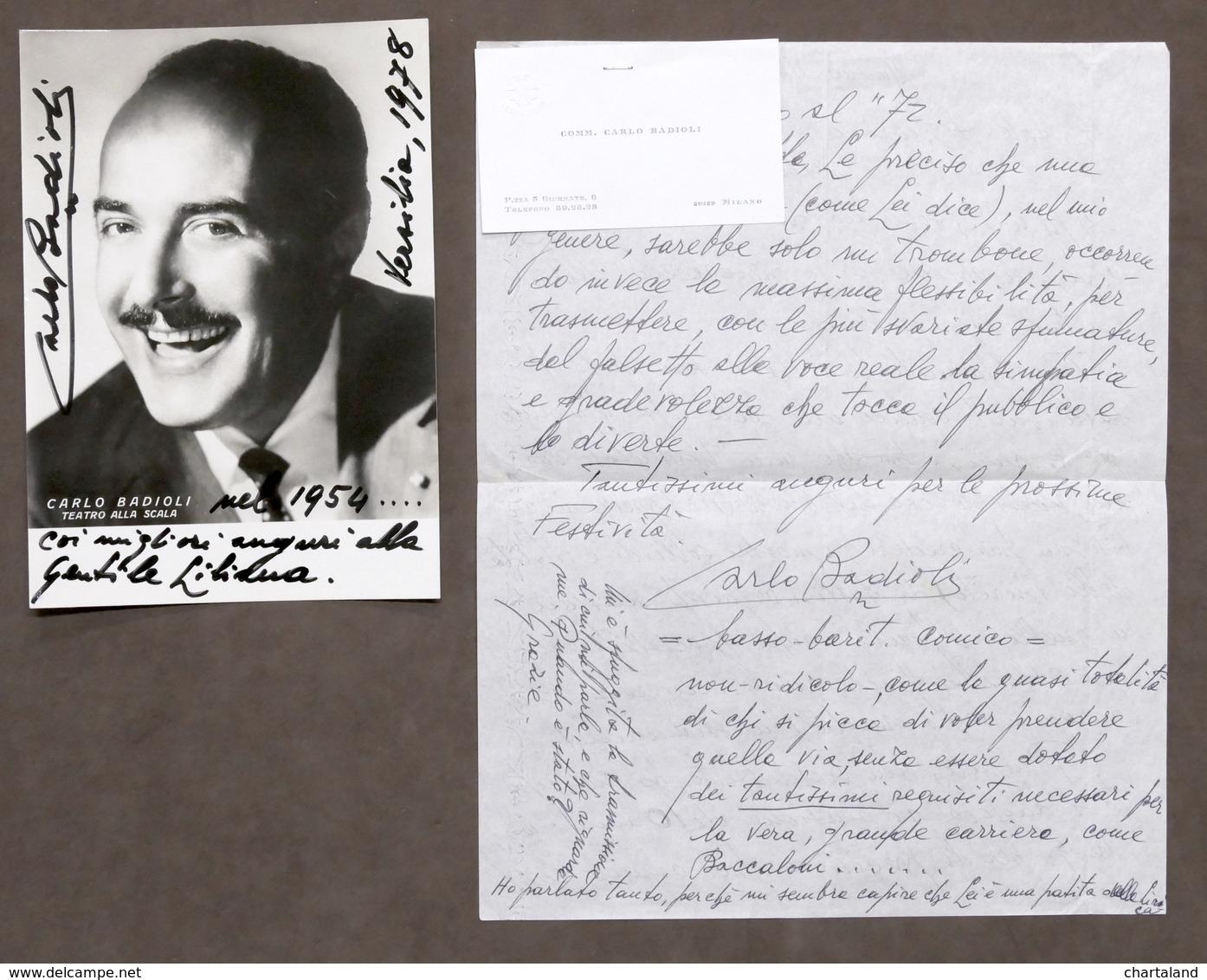 Musica Lirica - Lotto 2 Autografi Del Basso-baritono Carlo Badioli - 1978 - Autografi