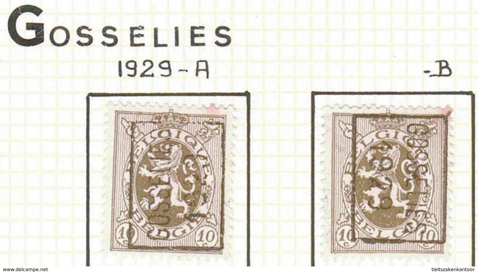 OCVB N ° 5143  GOSSELIES 1929   A & B - Prematasellados