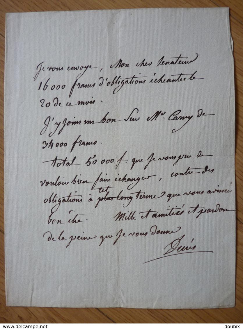AMIRAL Denis DECRES (1761-1820) MINISTRE De La MARINE De NAPOLEON Bonaparte. AUTOGRAPHE - Autógrafos
