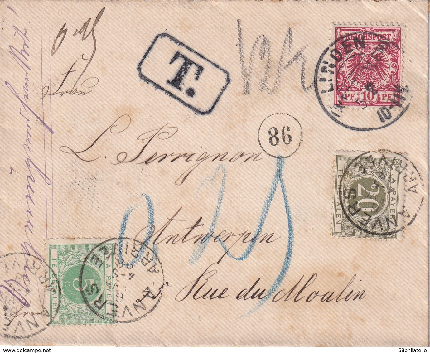 ALLEMAGNE 1898 LETTRE DE LINDEN TAXEE A ANVERS - Deutschland