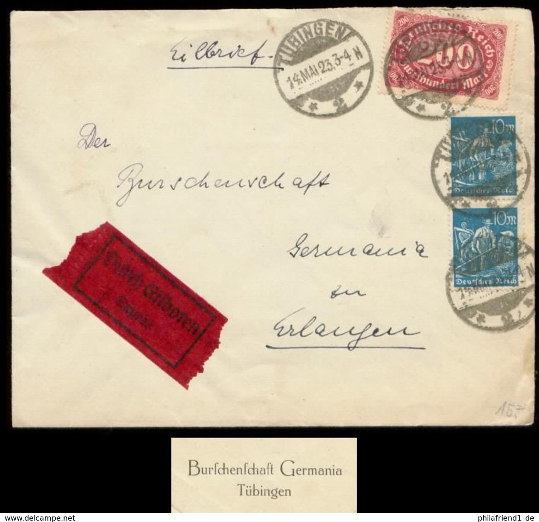 S8096 - DR Infla Express Briefumschlag Studentika: Gebraucht Burschenschaft Germania Tübingen - Erlangen 1923, Bedarfse - Deutschland