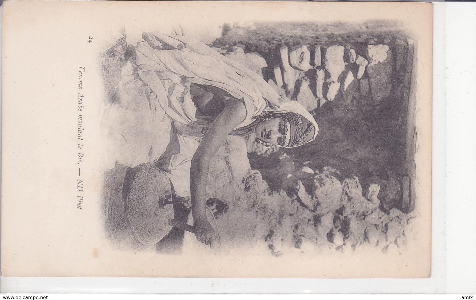 Femme Arabe Meulant Le Blé. Non écrite. Dos 1900. TBE - Scenes