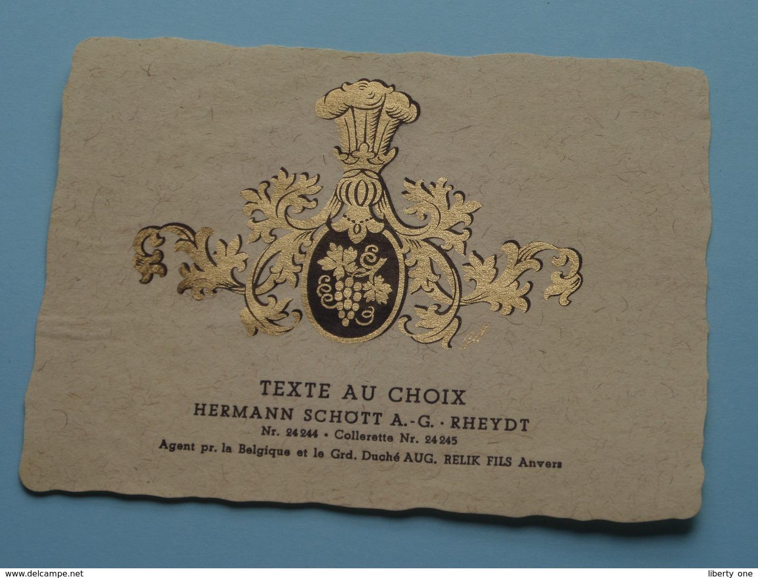 TEXTE Au CHOIX Nr.24244 > 24245 Hermann Schött RHEYDT > Aug. RELIK Anvers ( Zie/voir Foto / Format +/- 9,5 X 13 Cm. ) ! - Unclassified