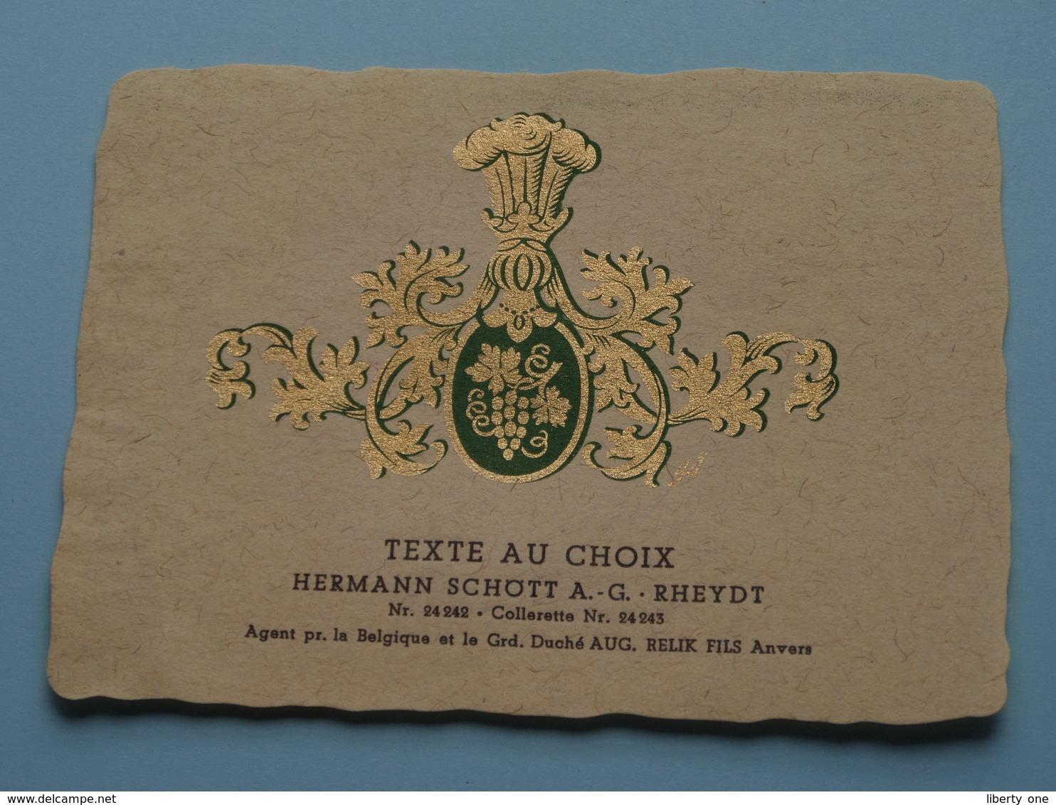 TEXTE Au CHOIX Nr.24242 > 24243 Hermann Schött RHEYDT > Aug. RELIK Anvers ( Zie/voir Foto / Format +/- 9,5 X 13 Cm. ) ! - Unclassified