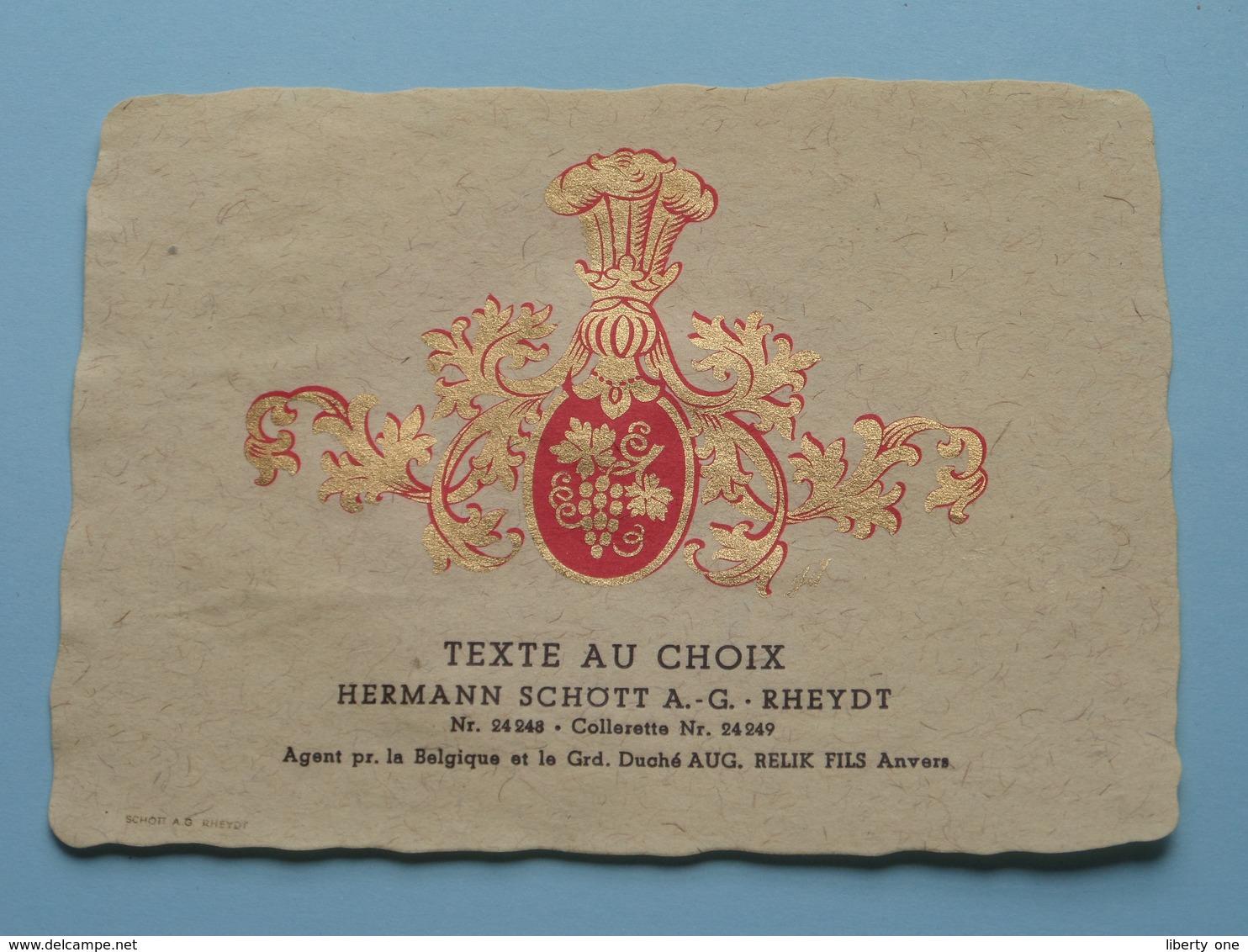 TEXTE Au CHOIX Nr.24248 > 24249 Hermann Schött RHEYDT > Aug. RELIK Anvers ( Zie/voir Foto / Format +/- 9,5 X 13 Cm. ) ! - Unclassified