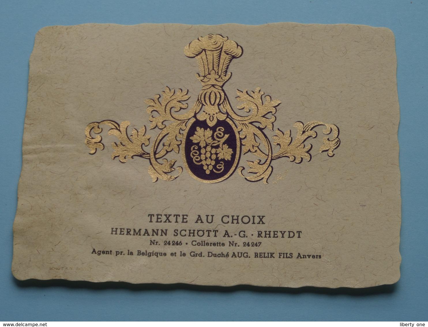 TEXTE Au CHOIX Nr.24246 > 24247 Hermann Schött RHEYDT > Aug. RELIK Anvers ( Zie/voir Foto / Format +/- 9,5 X 13 Cm. ) ! - Unclassified