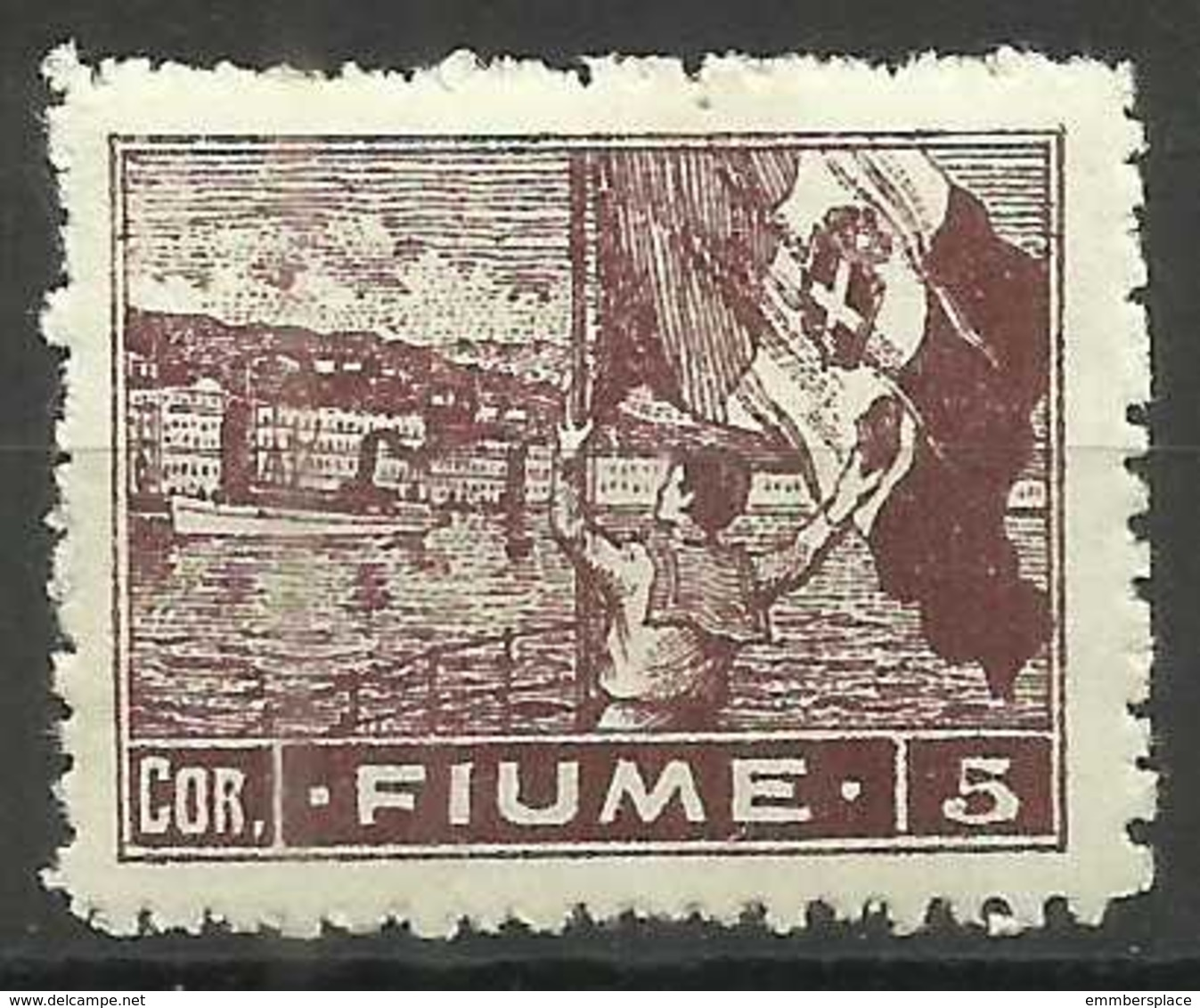 Fiume - 1919 Flag Waving 5 Cor MH *    Mi 47   Sc 42 - 8. WW I Occupation
