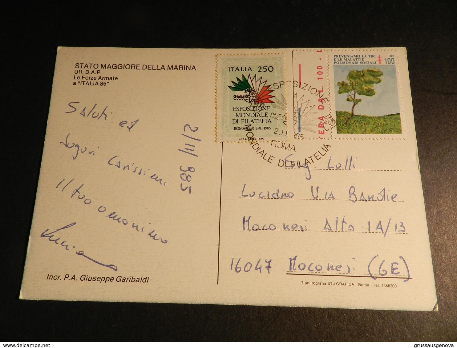 19942) NAVE PORTAEREI GIUSEPPE GARIBALDI ITALIA 85 VIAGGIATA CON ERINNOFILO - Guerra