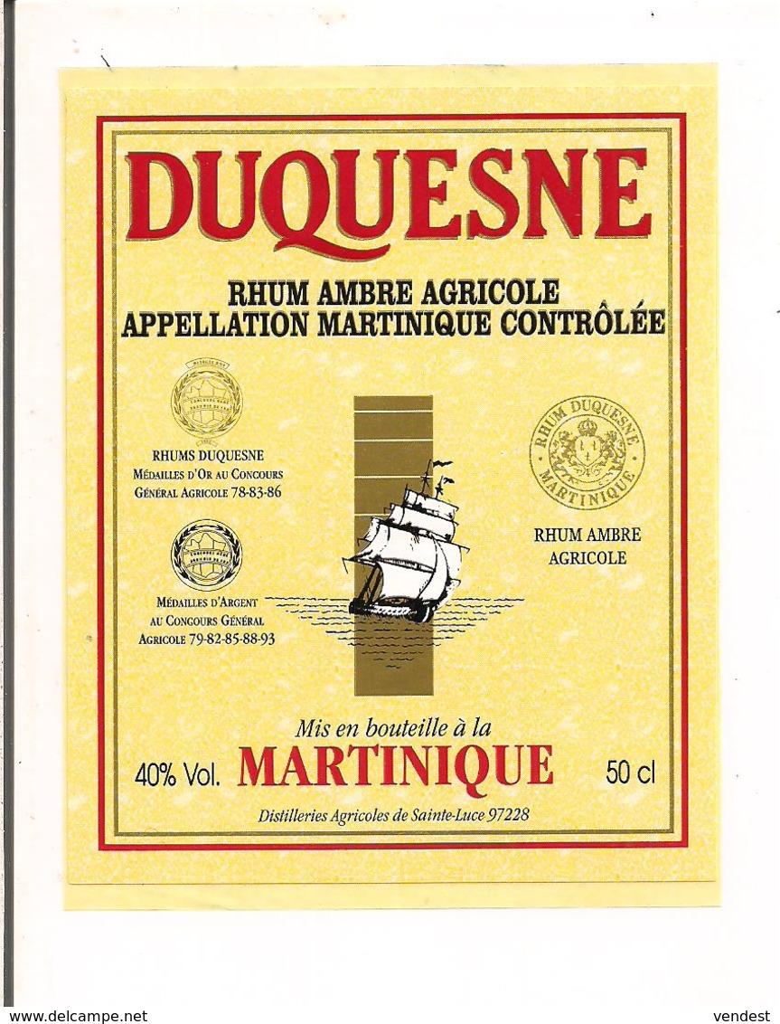 Etiquette  RHUM Ambré  Agricole DUQUESNE - Appellation  MARTINIQUE Contrôlée - 40° 50cl - Rhum