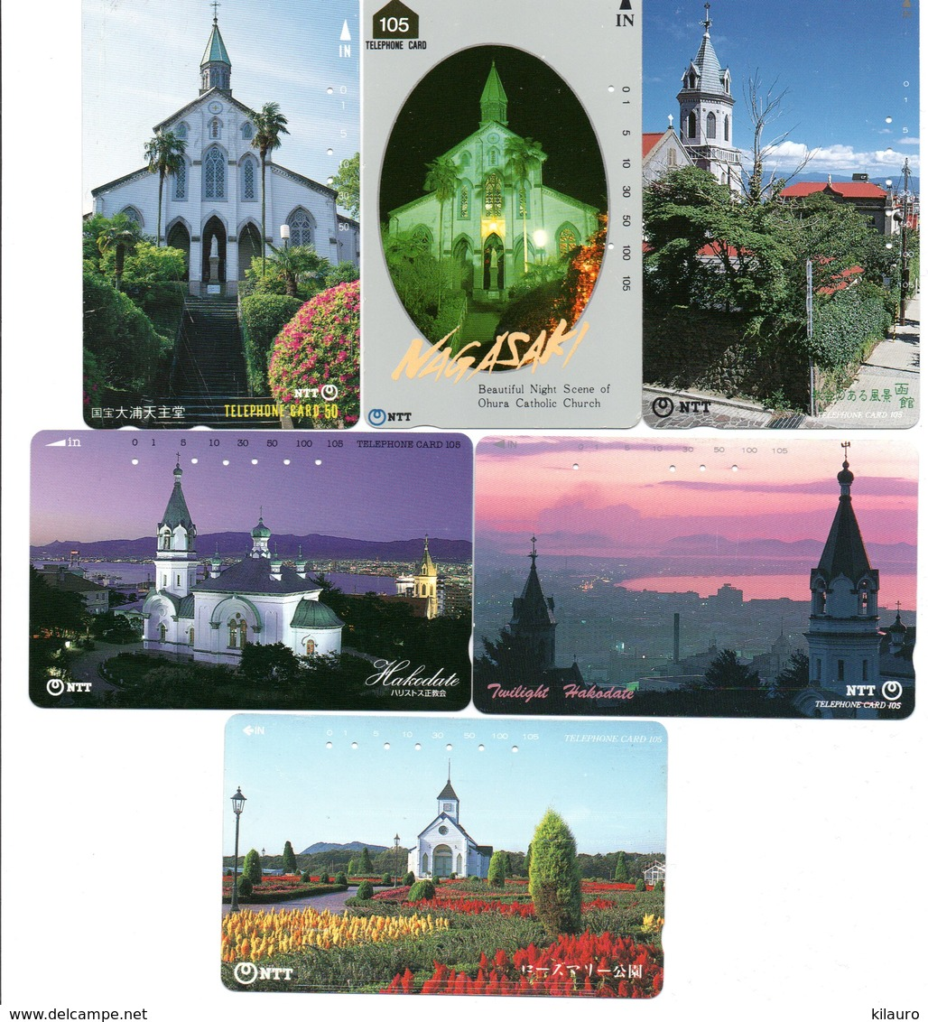 6 Télécartes Japon Japan Phonecard Toutes Différentes églises Church Paysage (D 559) - Paysages