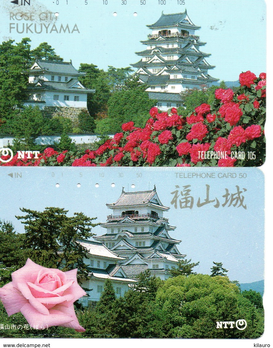 2 Télécartes Japon Japan Phonecard Toutes Différentes Pagodes Pagode Paysage Fleur (D 562) - Paysages