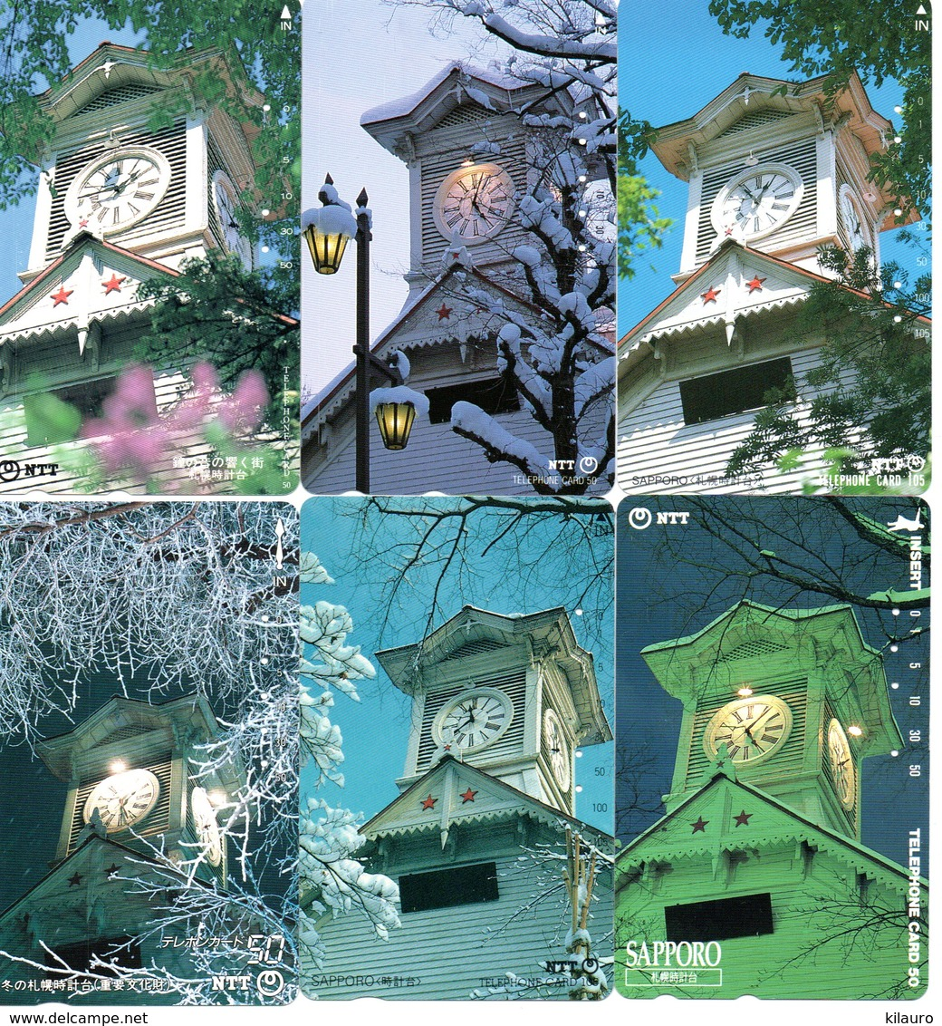 6 Télécartes Japon Japan Phonecard Toutes Différentes Pagodes Pagode Paysage Fleur (D 563) - Landschappen