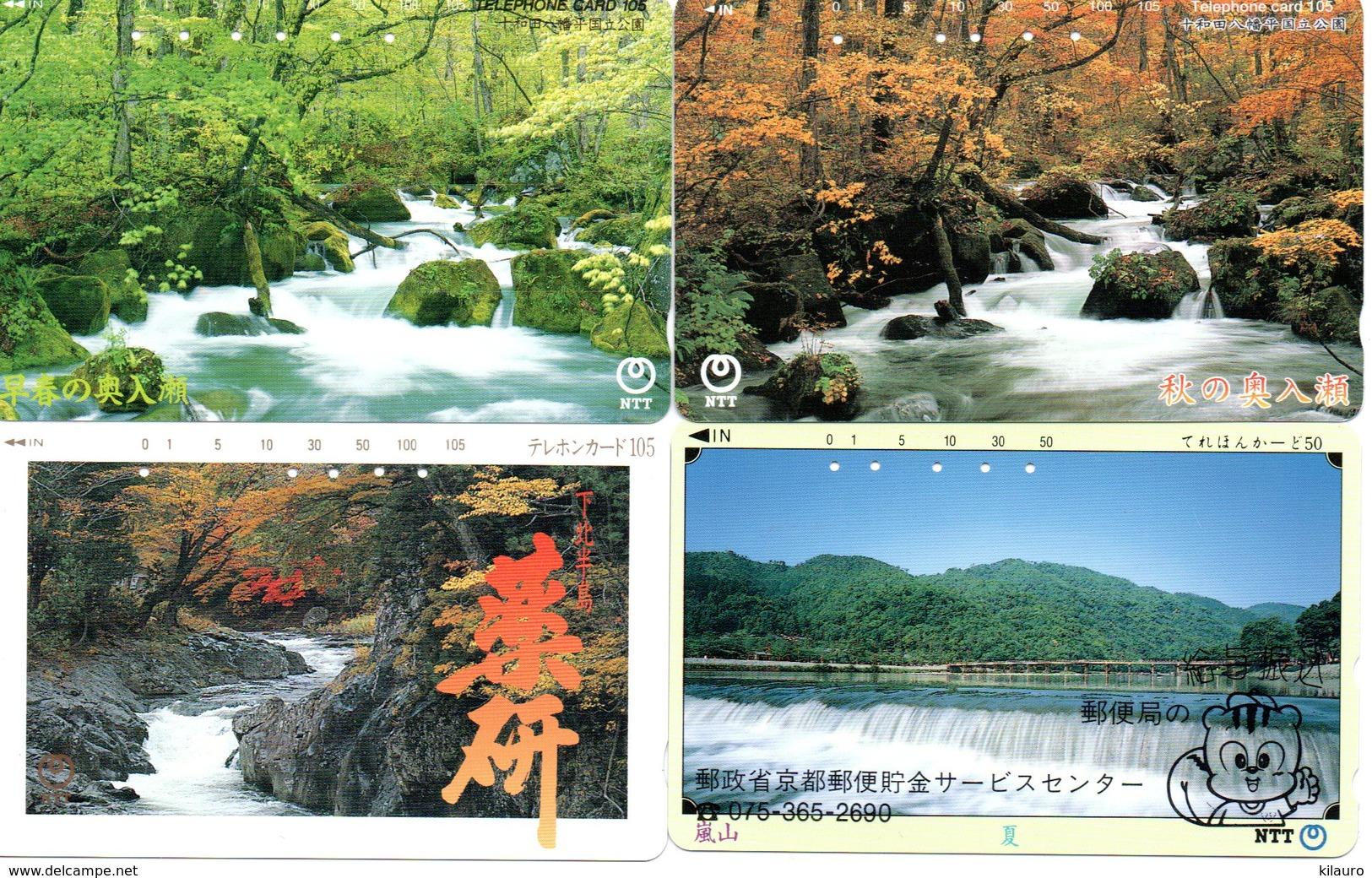 4 Télécartes Japon Japan Phonecard Toutes Différentes Cascade Waterfall Chute D'eau Paysage  (D 565) - Paysages