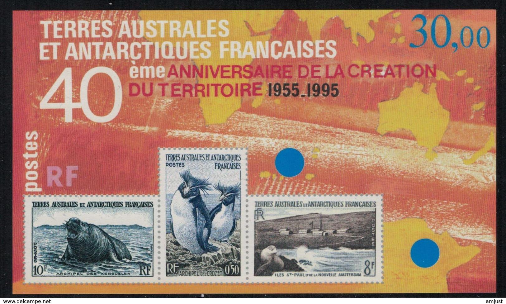 T.A.A.F. // 1995 // Blocs Et Feuillets No.2 Y&T Neuf** MNH, 40ème Anniversaire De La Création Du Territoire - Blocs-feuillets