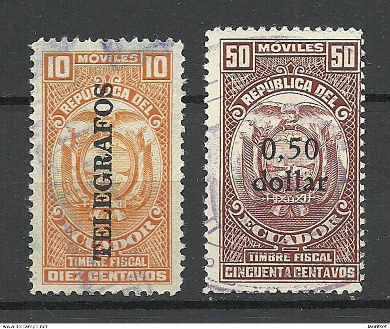 ECUADOR 2 Old Revenue Tax Stamps Timbre Fiscal & Telegrafos O - Ecuador