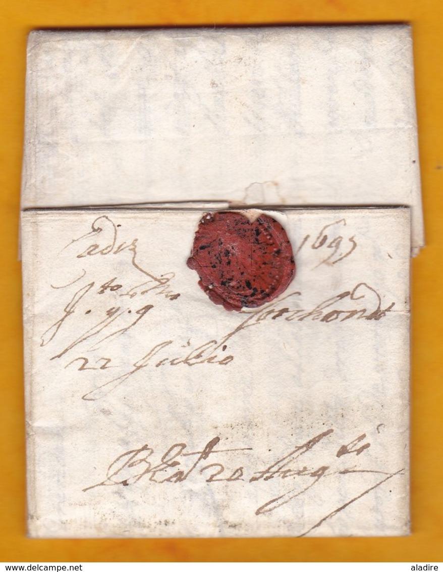 1697 (Carlos II) - Carta Personal De 2 Pajinas De Cadiz, Espana A Amberes/Antwerp/Anvers, Paises Bajos Espanoles - Spagna
