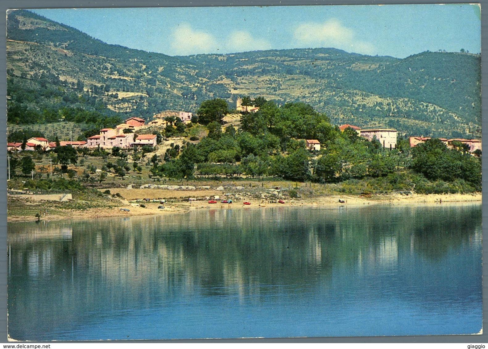 °°° Cartolina N. 3 Colle Di Tora Panorama E Spiaggia Viaggiata °°° - Rieti