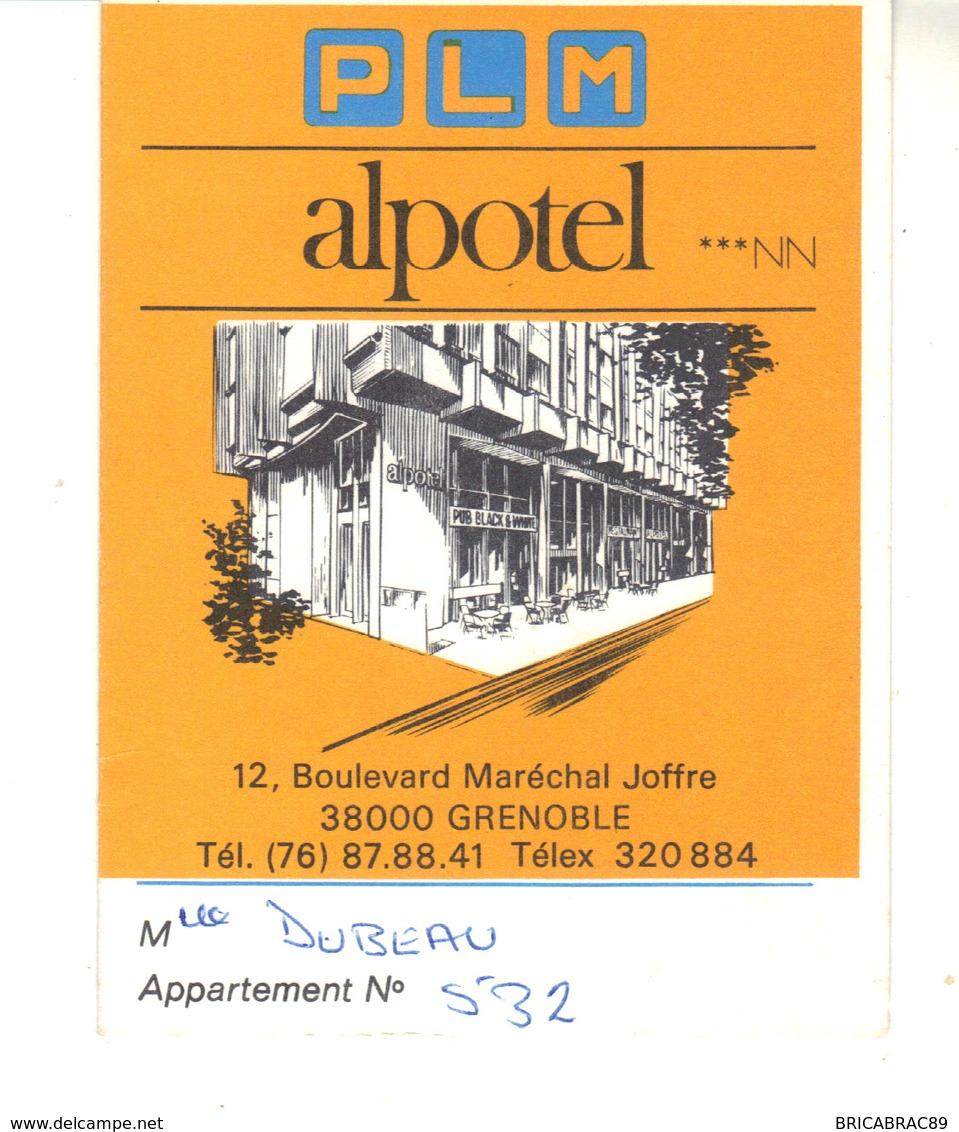 P.L.M.  Alpotel   Grenoble   Carte De Visite Ouvrante Avec Plan D'accès à L'hötel - Visiting Cards