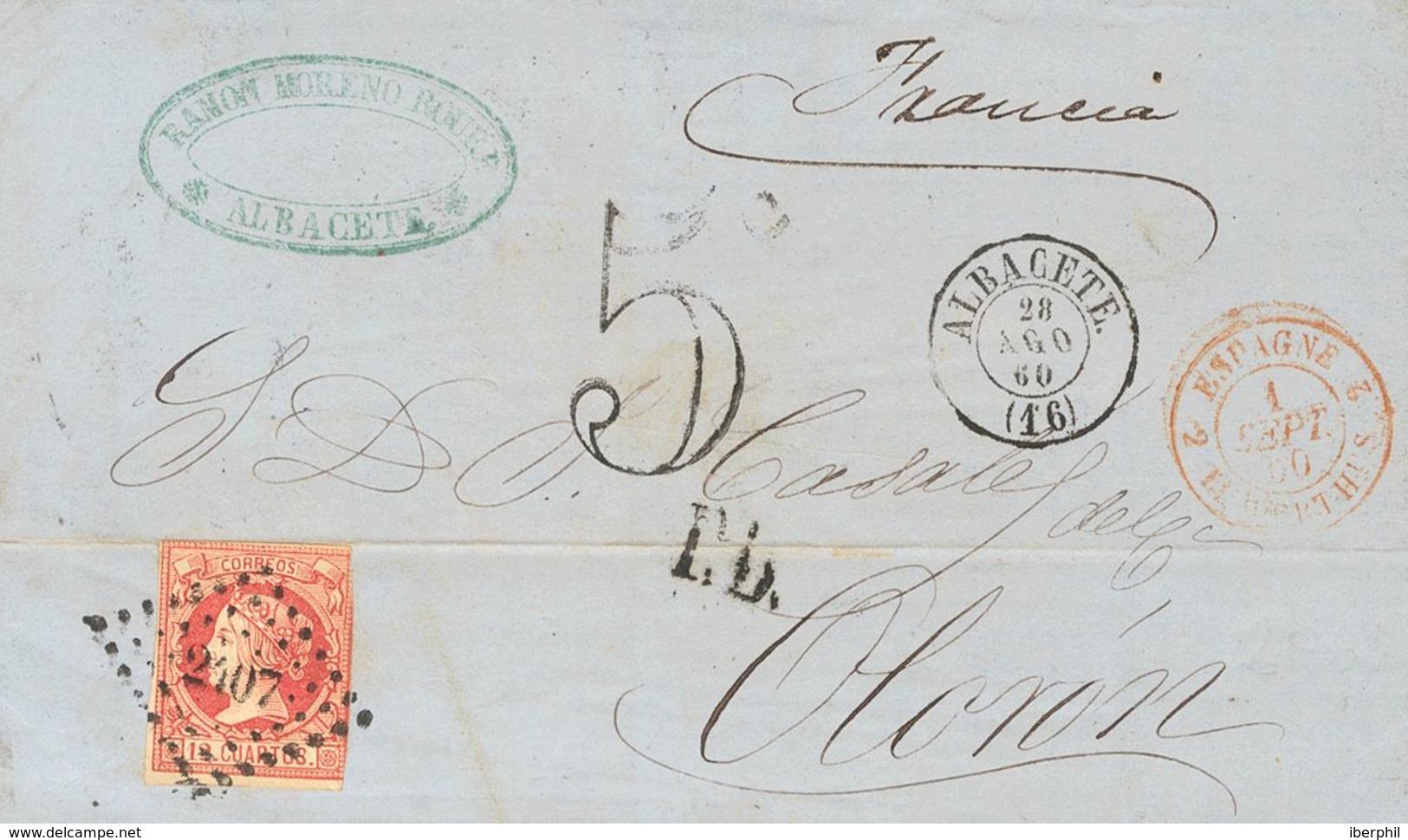 Sobre 53. 1860. 12 Cuartos Carmín. ALBACETE A OLORON (FRANCIA). Matasello ROMBO DE PUNTOS Nº2407, De Le Perthus. MAGNIFI - Espagne