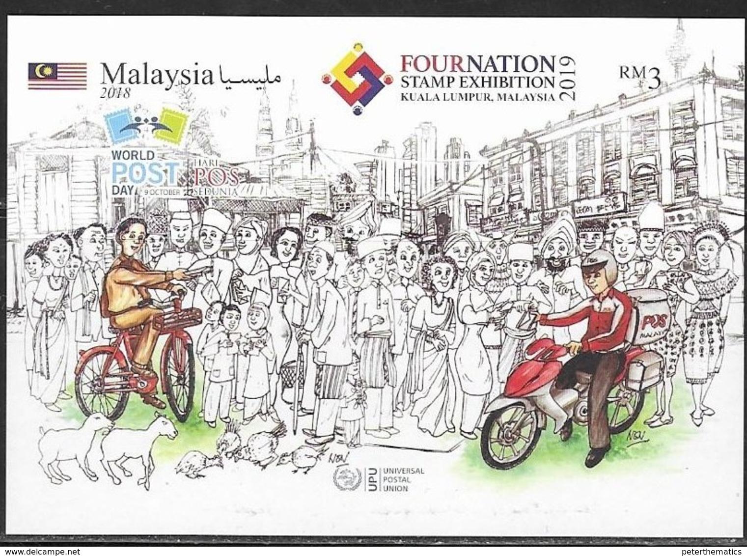 MALAYSIA, 2019, MNH,KUALA LUMPUR STAMP EXHIBITION OVERPRINT , WORLD POST DAY, BICYCLES, MOTORBIKES, S/SHEET - Other