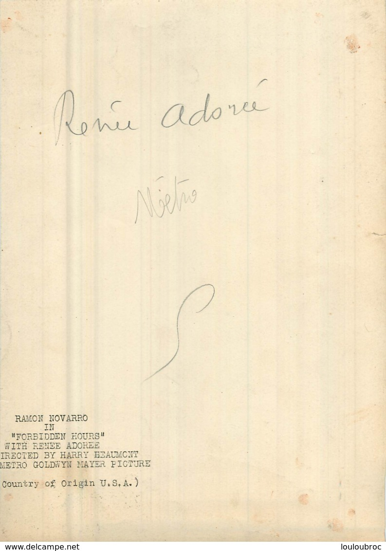 PHOTO ORIGINALE RENEE ADOREE  DANS FORBIDEN HOURS AVEC RAMON NOVARRO METRO GOLDWYN MAYER  25 X 18 CM - Photographs