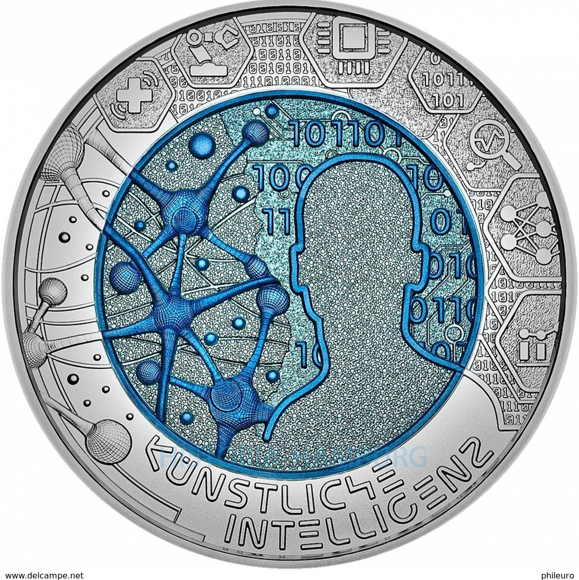 Autriche 2019 : 25€ 'Intelligence Artificielle' ('Künstlische Intelligenz') En Argent Et Niobium - Disponible En France - Autriche