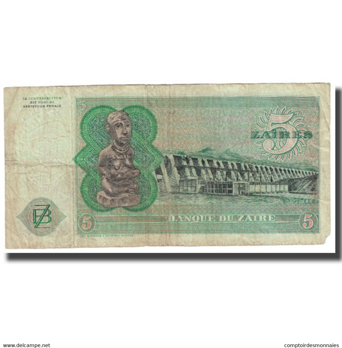 Billet, Zaïre, 5 Zaïres, 1976, 1976-11-24, KM:21a, TTB - Zaïre