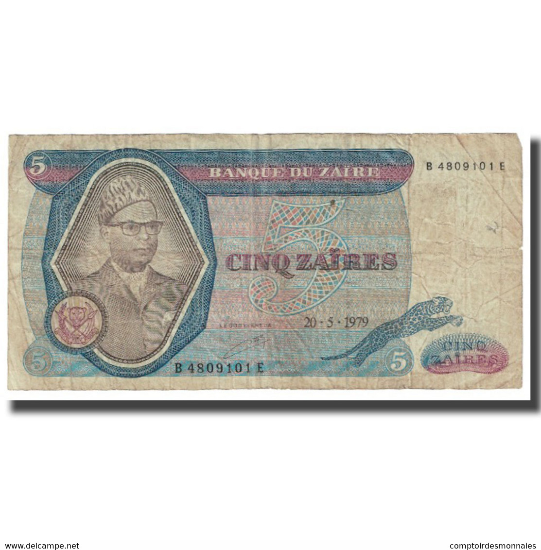 Billet, Zaïre, 5 Zaïres, 1979, 1979-05-20, KM:22a, TTB - Zaïre