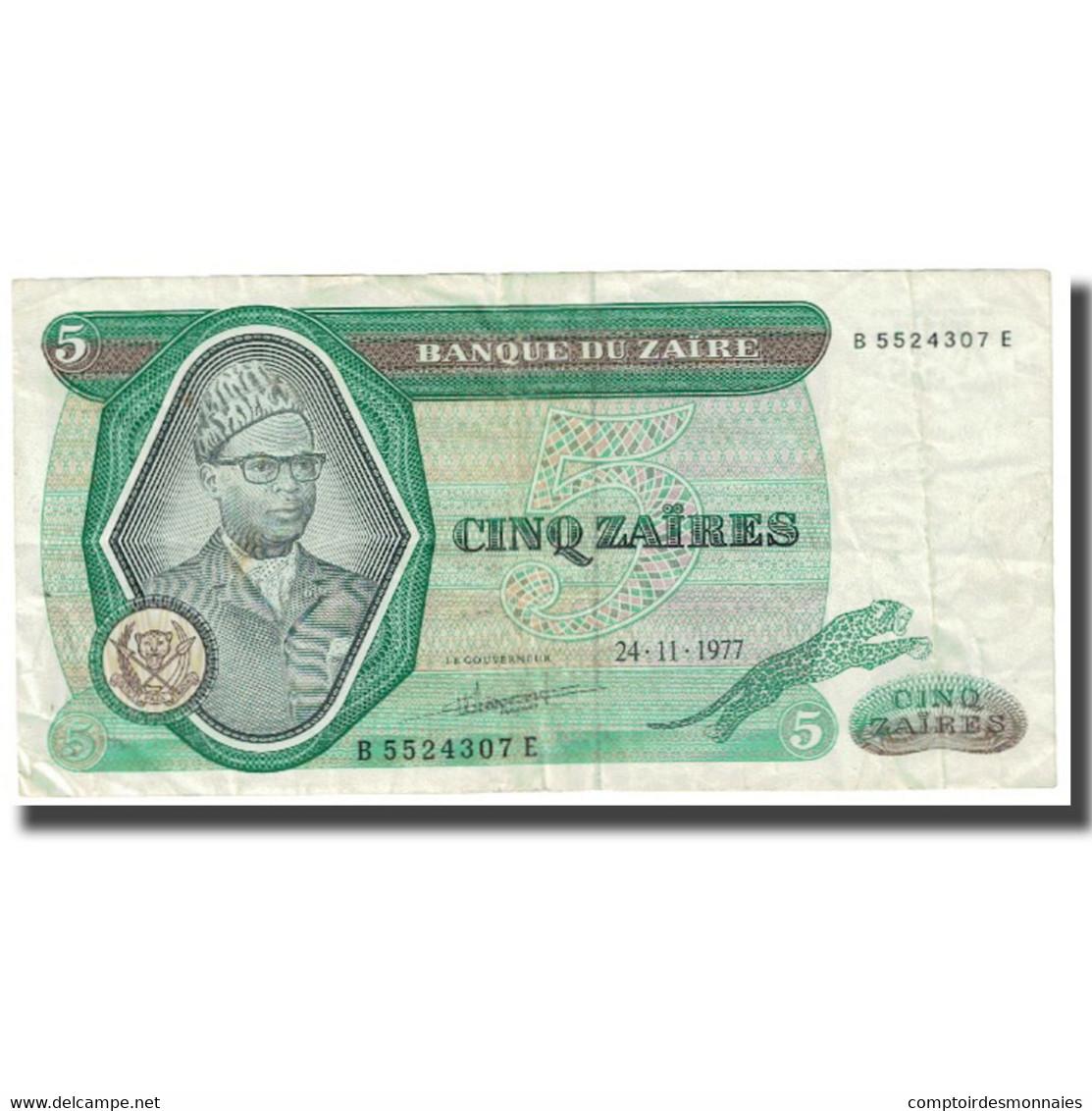Billet, Zaïre, 5 Zaïres, 1977, 1977-11-24, KM:21a, TTB - Zaïre