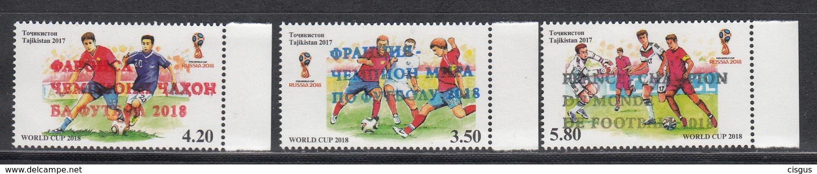"""Tajikistan Tadschikistan MNH** 2018 Overprint """"France - World Football Champion 2018""""   Mi 827-29  M - Fußball-Weltmeisterschaft"""