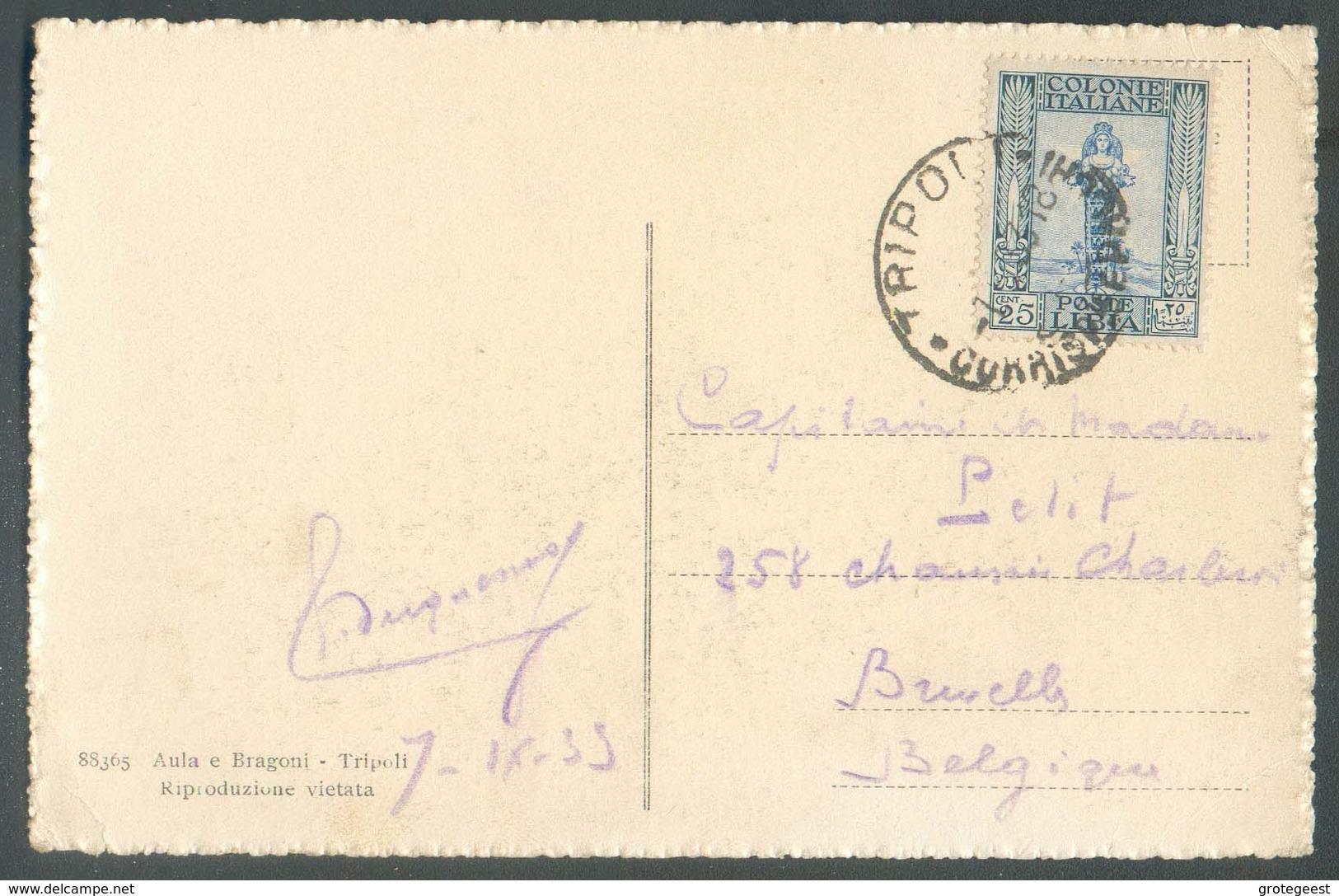 CV Affr. 25 Cent. Obl.L Sc TRIPOLI 7-IX-1933 Vers Bruxelles - TB - 13993 - Libië