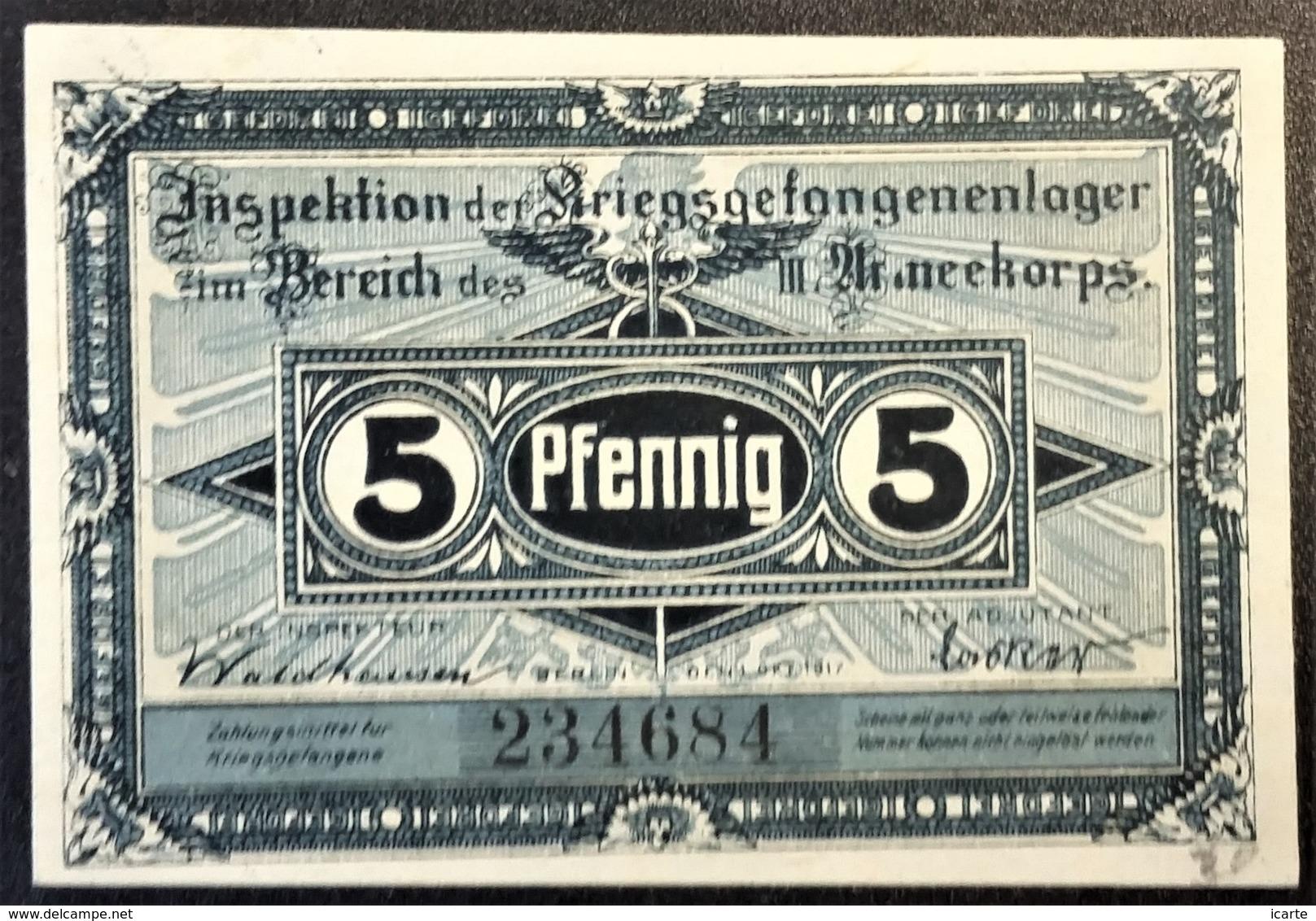 Billet 5 Pfennig LAGERGELD MONNAIE DE CAMP PRISONNIER DE GUERRE Kriegsgefangenenlager HAVELBERG - Autres