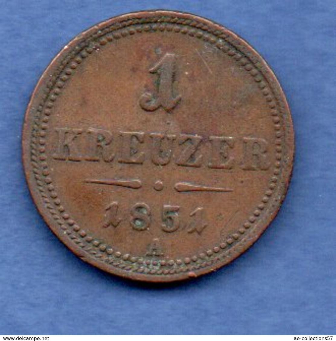 Autriche -  1 Kreuzer  1851 A -  Km # 2185   --  état TB - Autriche