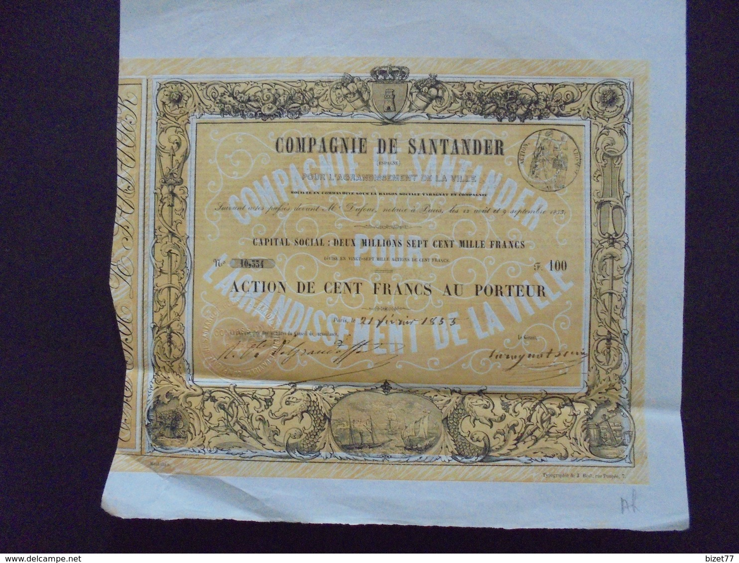 ESPAGNE - COMPAGNIE DE SANTANDER - ACTION DE 100 FRS - PARIS 1853 - Shareholdings