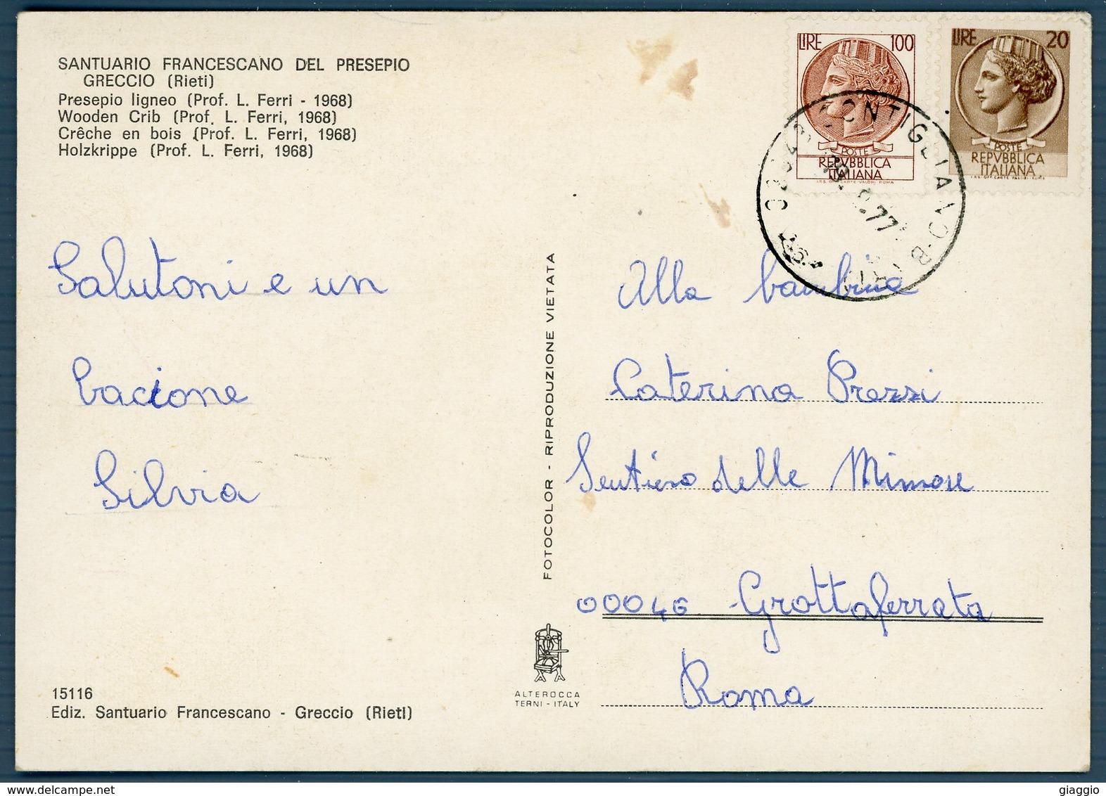 °°° Cartolina N.14 Santuario Francescano Del Presepio Greccio Viaggiata °°° - Rieti