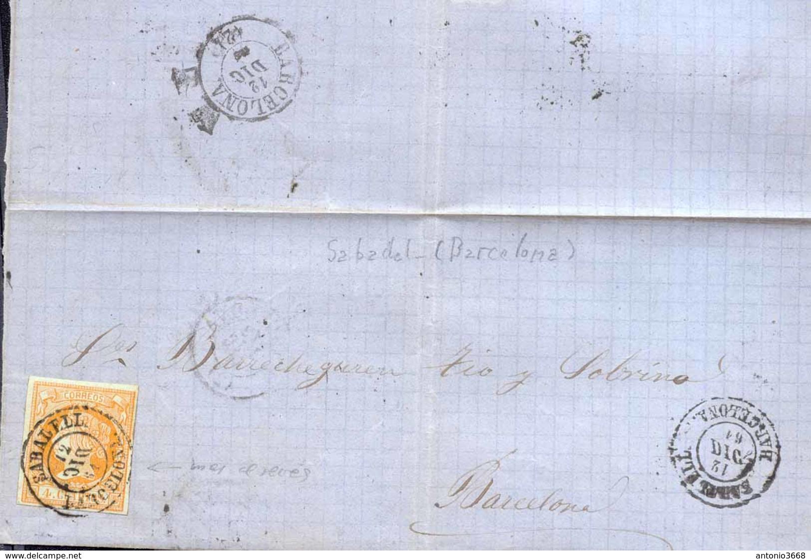 Año 1860 Edifil 52 4c Isabel II  Envuelta Matasellos Sabadell Barcelona Tipo II - 1850-68 Kingdom: Isabella II