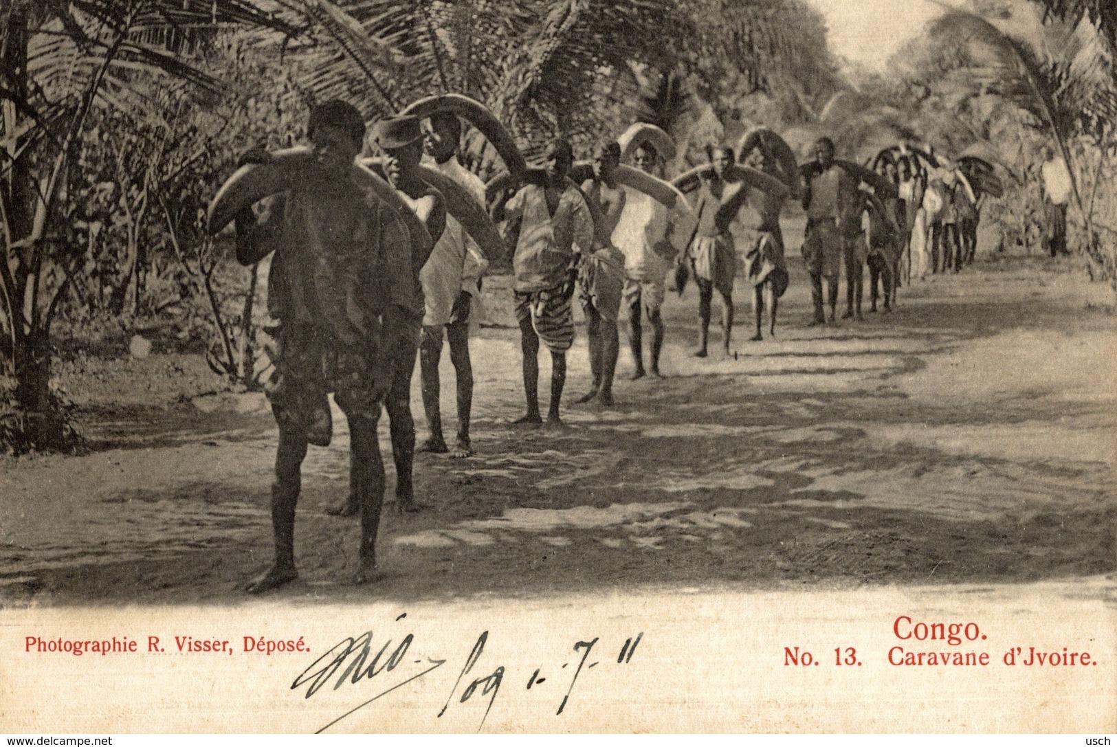 Cpa CONGO BELGE - Caravana D'Ivoire, édit.: R: VISSER, Circulée 1911 COQUILHATVILLE - Belgian Congo - Other