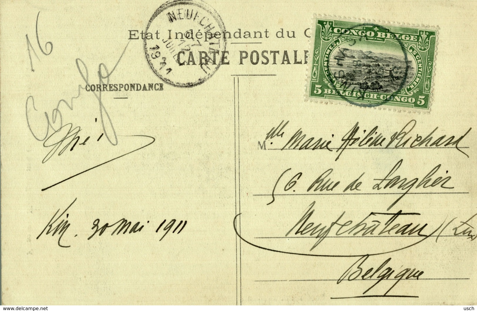 Cpa CONGO BELGE - Femme Mongelema, Circulée 1911 KINSHASA - Belgian Congo - Other