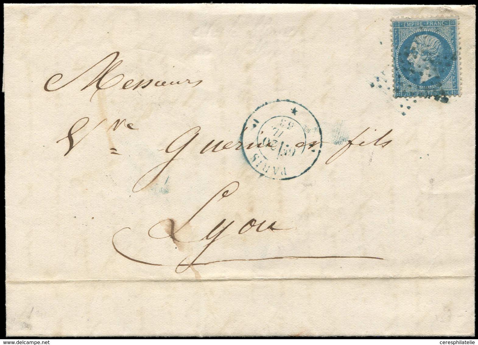 Let EMPIRE DENTELE - 22   20c. Bleu, Obl. Etoile S. LAC, Càd PARIS 20/4/53, Le Tout En BLEU, TB - 1862 Napoléon III