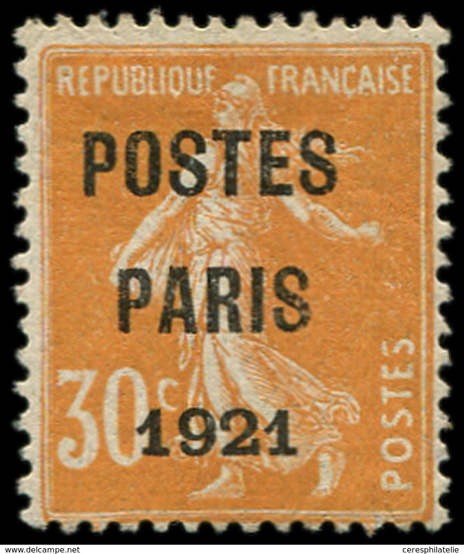 * PREOBLITERES - 29  30c. Orange, POSTES PARIS 1921, TB - Préoblitérés