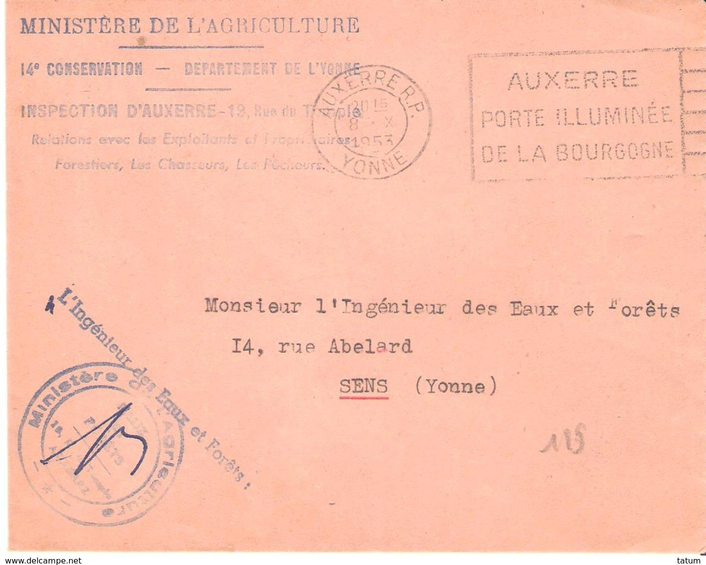 Yonne : AUXERRE Franchise L'INGENIEUR DES EAUX ET FORETS - Marcophilie (Lettres)