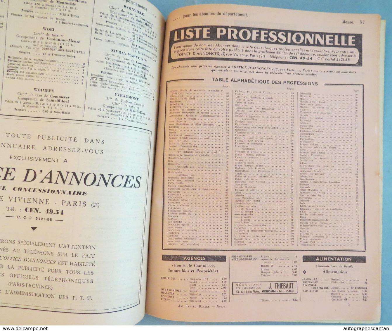 MEUSE 1959 - Annuaire Officiel Des Abonnés Au Téléphone - Nombreuses Publicités - 76p - Verdun Bar Le Duc Etc (55) - Annuaires Téléphoniques