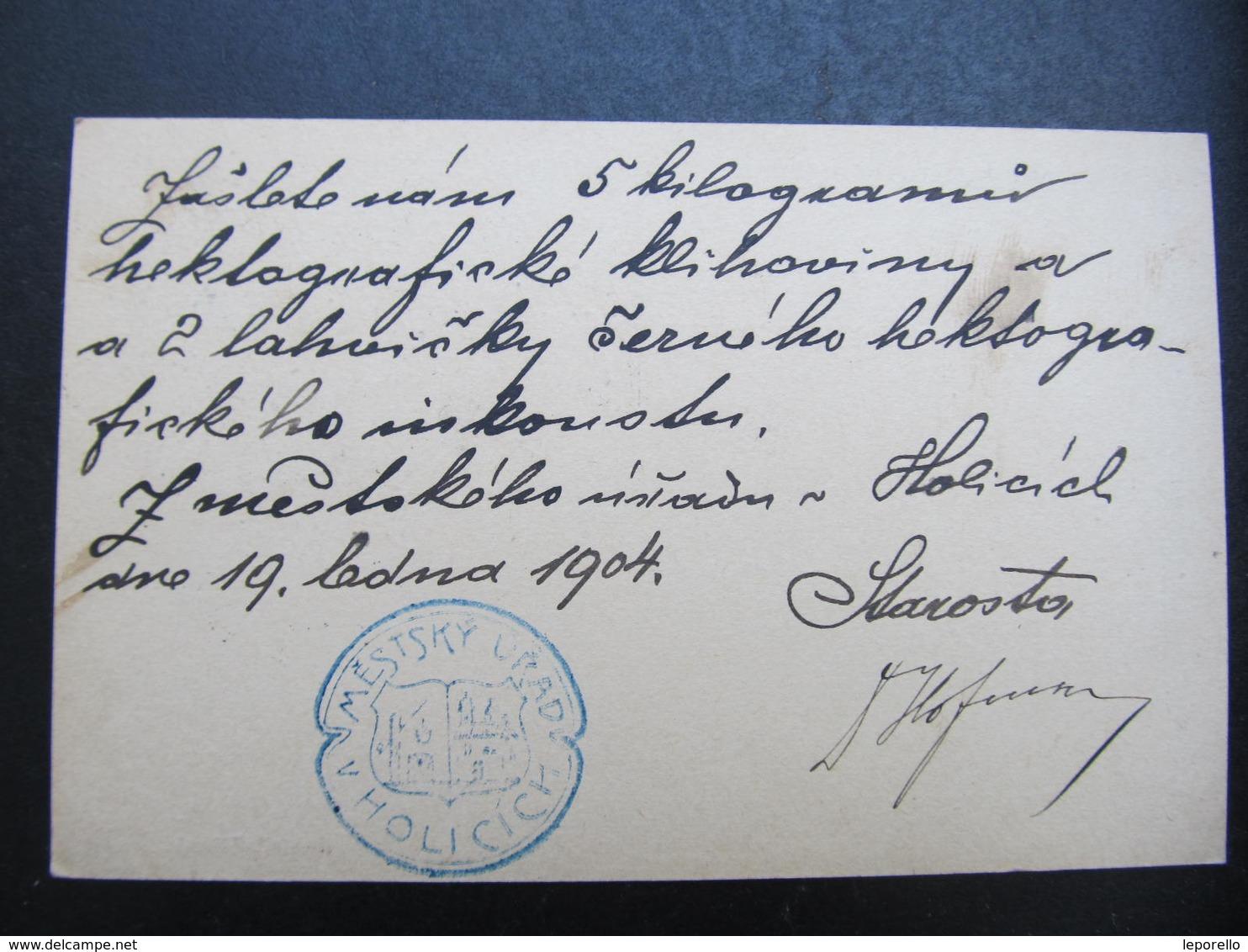 GANZSACHE Holice - Semily Mestsky Urad 1904 Korrespondenzkarte /// D*38745 - 1850-1918 Imperium