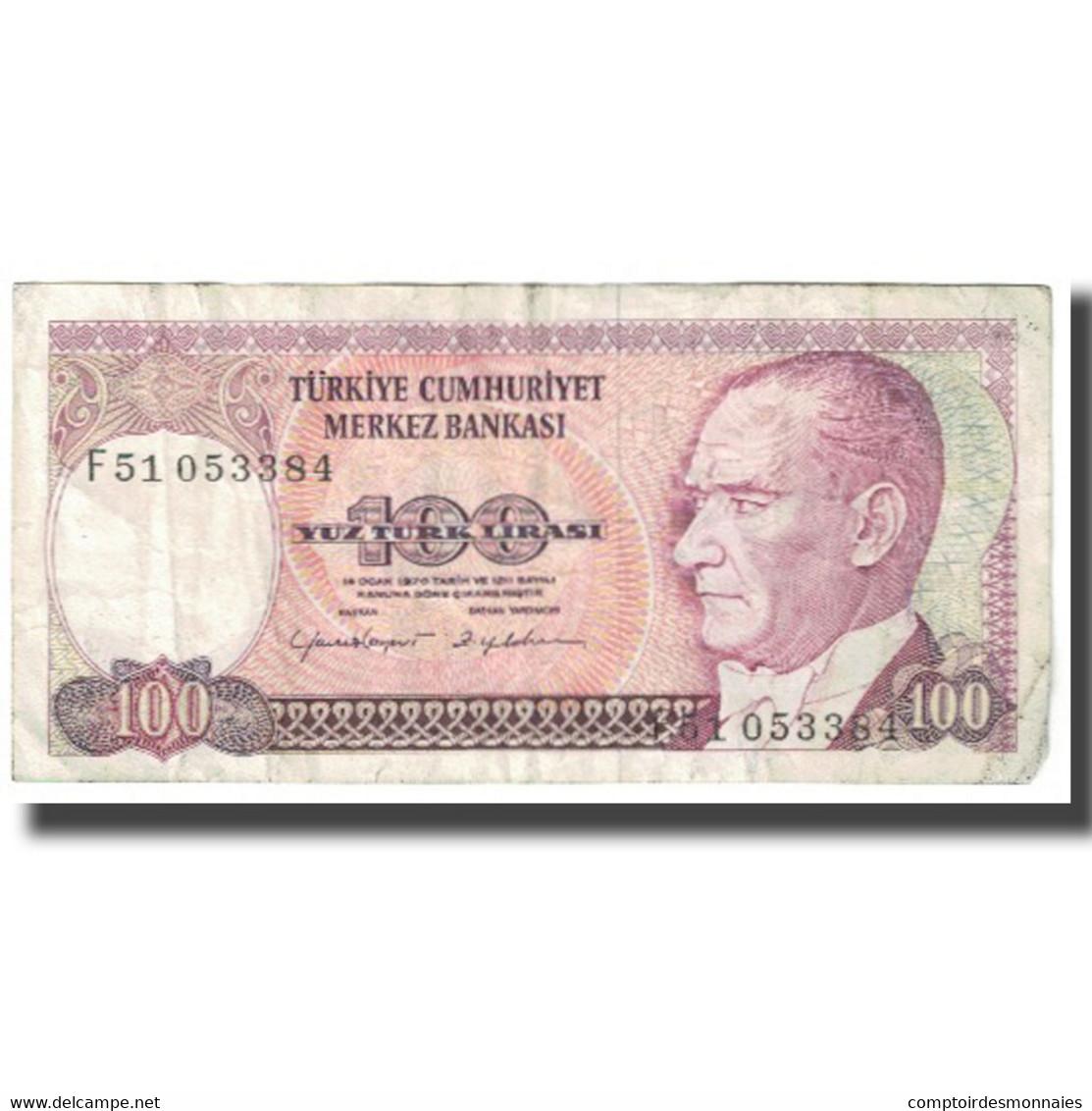 Billet, Turquie, 100 Lira, 1970, 1970-10-14, KM:194a, TB - Turquie